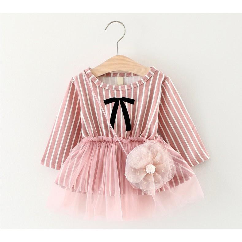 韓版公主條紋蕾絲連衣裙+假花朵小包 寶寶洋裝【蘋果小舖】(RE) A75