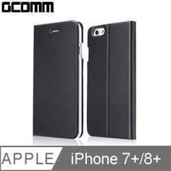 GCOMM iPhone 8+/7+ Metalic Texture 金屬質感拉絲紋超纖皮套 紳士黑