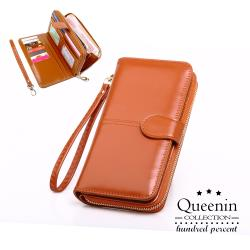DF Queenin皮夾 - 熱銷皮質感多功能手機包長夾-共5色