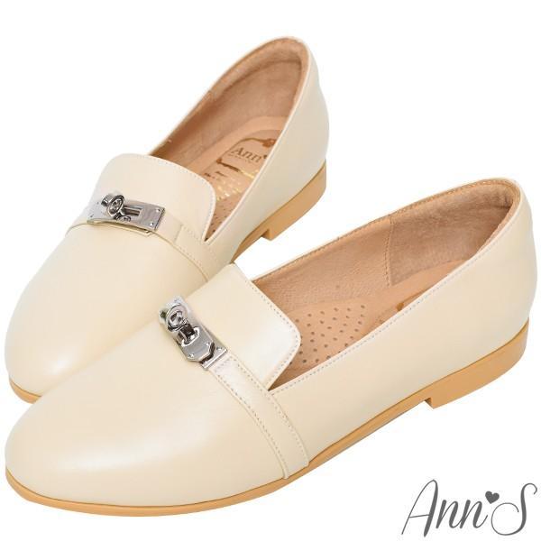 Ann'S  舒適MIT鎖頭羊皮平底紳士鞋 米