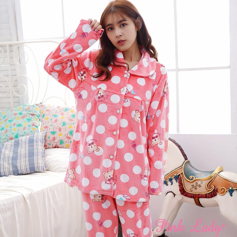 細緻海島絨排扣長袖成套睡衣 點點萌熊6602-1(蜜粉)-Pink Lady
