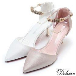 【Deluxe】粉嫩甜美閃亮馬卡龍色繞踝尖頭跟鞋(白☆粉)-Q920