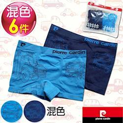 Pierre Cardin皮爾卡登 男兒童運動貼身無縫平口褲(混色6件組)