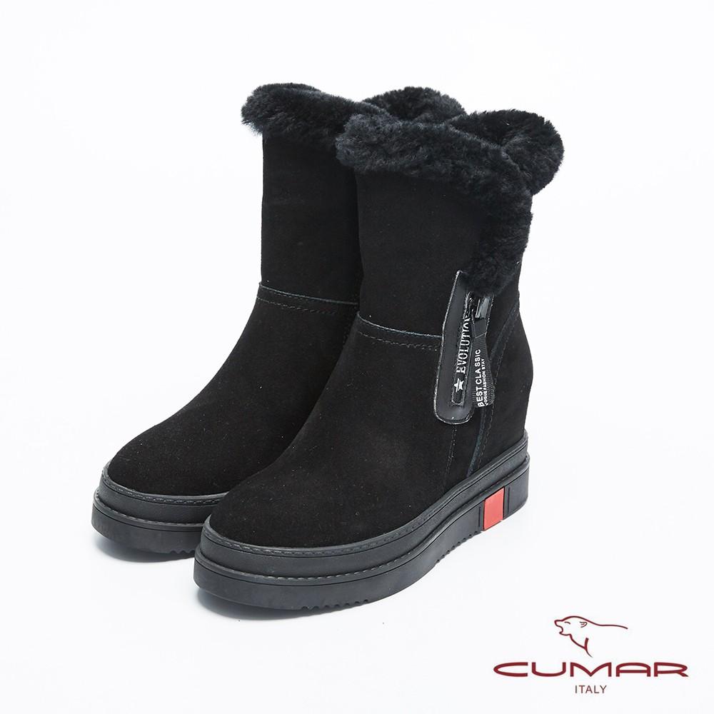 【CUMAR】率性柔美-毛圈厚實感內增高厚底雪靴 - 石曜黑