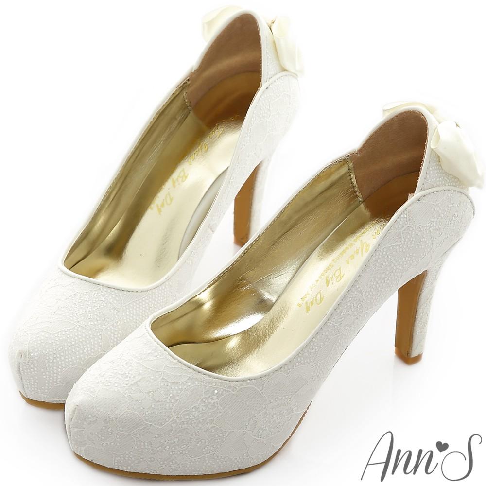Ann'S  Bridal 幸福婚鞋凡爾賽蕾絲蝴蝶結厚底跟鞋 白