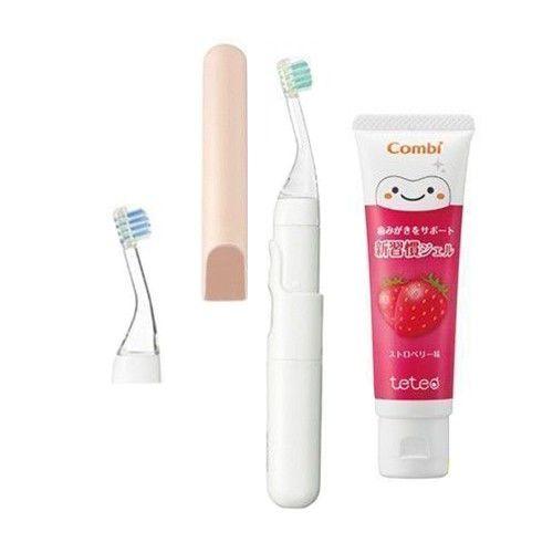 日本 Combi - teteo 幼童電動牙刷-1 + 1 實用組-電動牙刷-香檳粉x1+替換刷頭x1+草莓牙膏x1