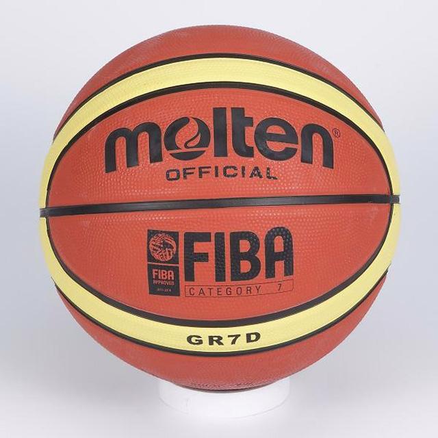 Molten 12貼片深溝7號橡膠籃球(棕/黃)B2