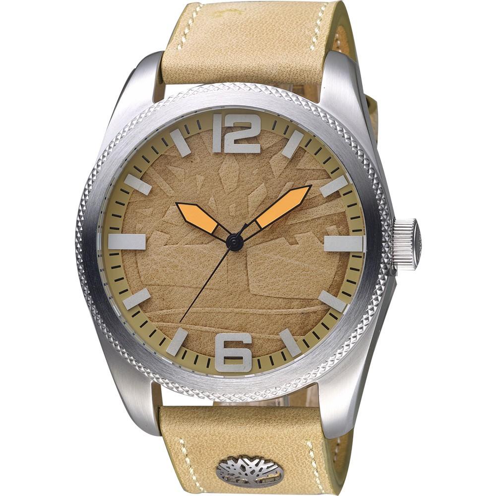 【Timberland 天柏嵐】立體LOGO旗艦手錶-卡其/46mm TBL.15034JS/07