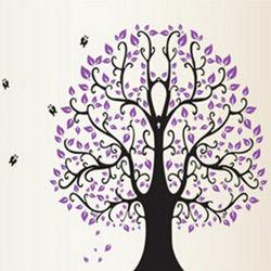 窩自在★DIY無痕創意牆貼壁貼-紫大樹_DF5098(60X90)-行動