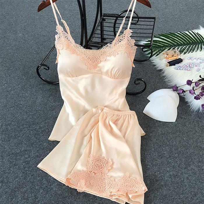 (帶胸墊)仿真絲性感高級蕾絲吊帶睡衣褲套組_杏色 SG116