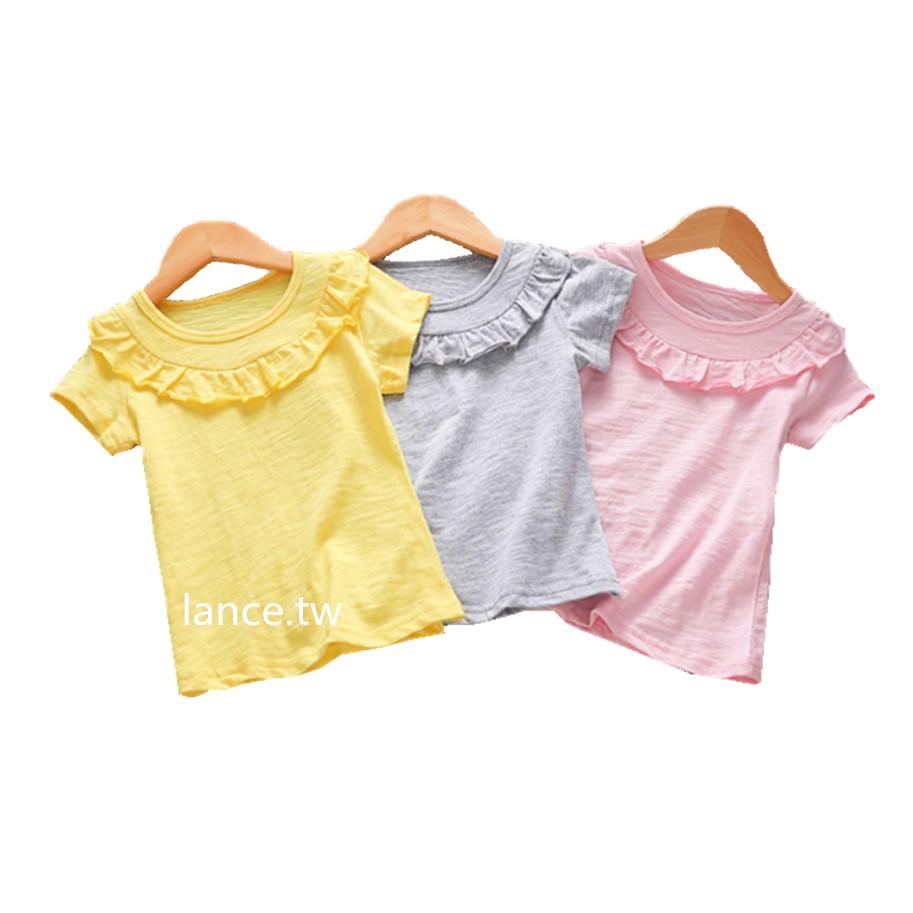 女童t恤圓領荷葉邊女童t恤純色t恤女寶寶短袖t恤兒童t恤女童短袖上衣