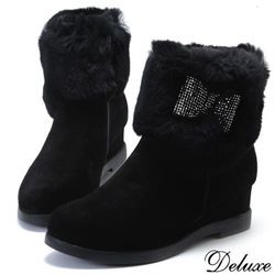 【Deluxe】全真皮兔毛水鑽蝴蝶結內增高短靴(黑)-268-10A