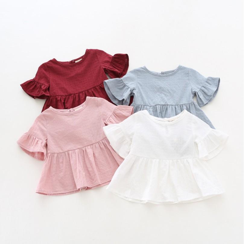 【現U貨】女童荷葉邊娃娃衫【蘋果小舖】(ML) A0