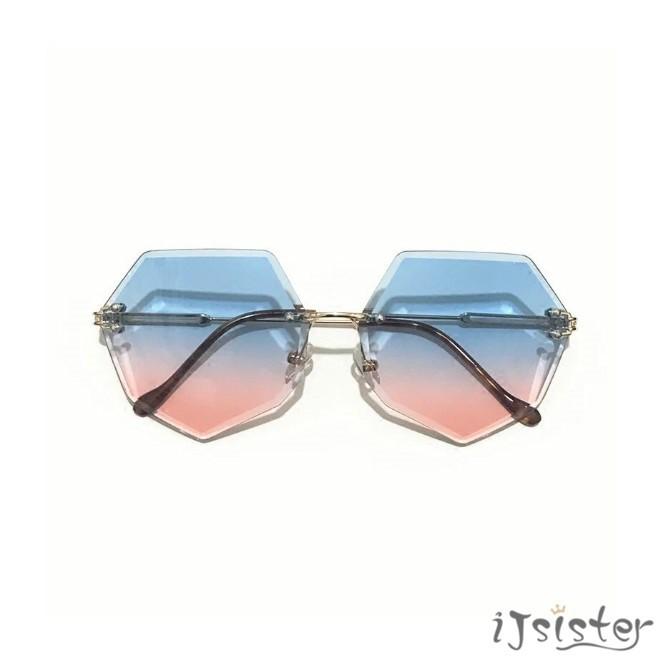 韓版 九色 無框 網美 特殊款 彩色 金屬 八角形 漸變色 透明 眼鏡