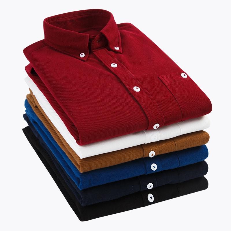 M-5XL 六色入燈芯絨襯衫 春季百搭青年男士素色長袖襯衫 英倫風時尚條絨襯衣 大尺碼商務休閒襯衫 正韓上衣 男生衣著