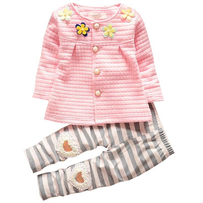 女寶寶秋裝長袖四朵花開襟上衣+長褲 套裝 洋裝