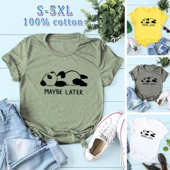 新品 レディース Tシャツ 半袖 夏 パンダ カジュアル 女性 半袖 tシャツ 大きいサイズ オシャレ 6カラー 5XLまで 100%綿