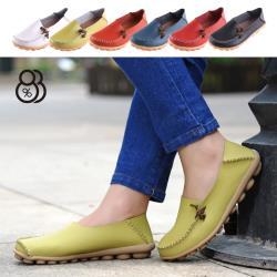 【88%】休閒鞋-皮質鞋面 豆豆鞋底 舒適簡約兩穿休閒鞋 套腳懶人鞋
