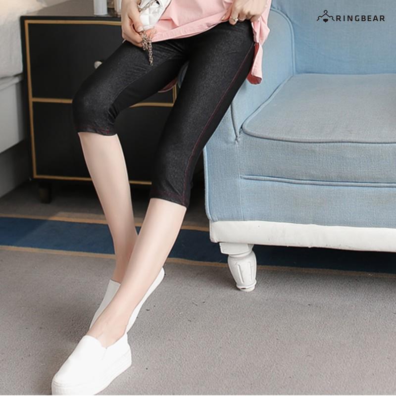 眼圈熊 中大尺碼 質感時尚仿牛仔褲設計與材質舒適彈性七分萬搭褲(黑.藍XL-3L)-P85