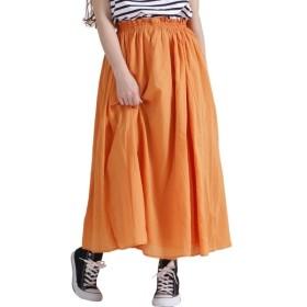 [マルイ] 大きいサイズ レディース コットン ギャザー フレア スカート ロング ウエスト フリル/ゴールドジャパン(大きいサイズ)(GOLDJAPAN)