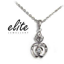 【Elite 伊麗珠寶】925純銀項鍊 八心八箭美鑽系列 - 青蘋果樂園