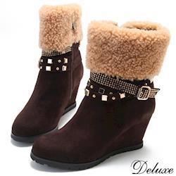 【Deluxe】時尚女孩水鑽鉚釘綿羊毛楔型短靴(咖啡)-1210-6-63
