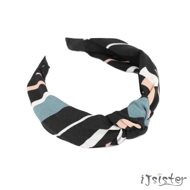不規則 圖案 條紋 拚色 幾何 交叉 寬版 髮帶 髮箍(2色)