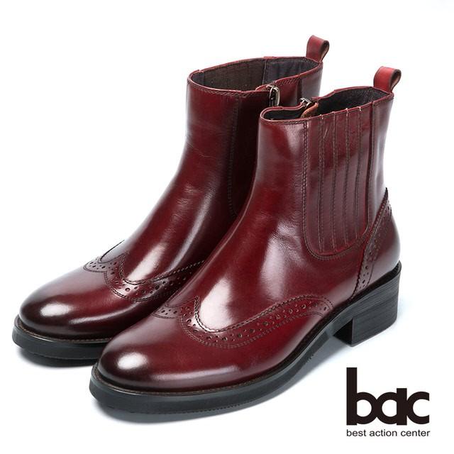 【bac】英倫學院-率性風格真皮短靴 - 酒紅色