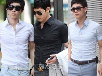 韓版修身襯杉時尚休閑男短袖襯衫供17色 A443特價199只有10天