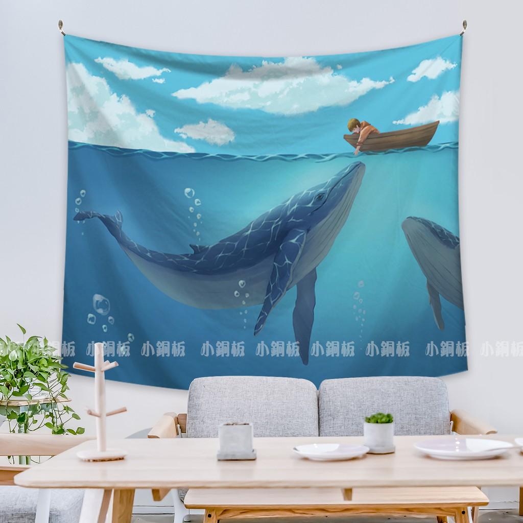[現貨] 北歐風掛毯掛畫 【鯨魚男孩】【小銅板】多尺寸可選高清印刷 精緻布料 可當窗簾門簾用 獨家設計