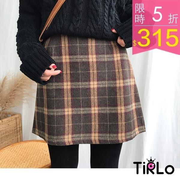 秋冬格紋A字短裙-三色/SML-Tirlo
