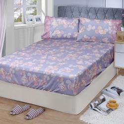 FITNESS 精梳棉特大床包+枕套三件組-佛洛拉(紫)
