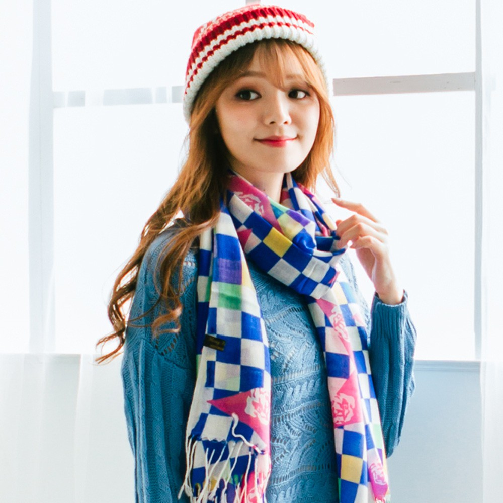 【Wonderland】時尚俏麗100%純羊毛披肩(藍)