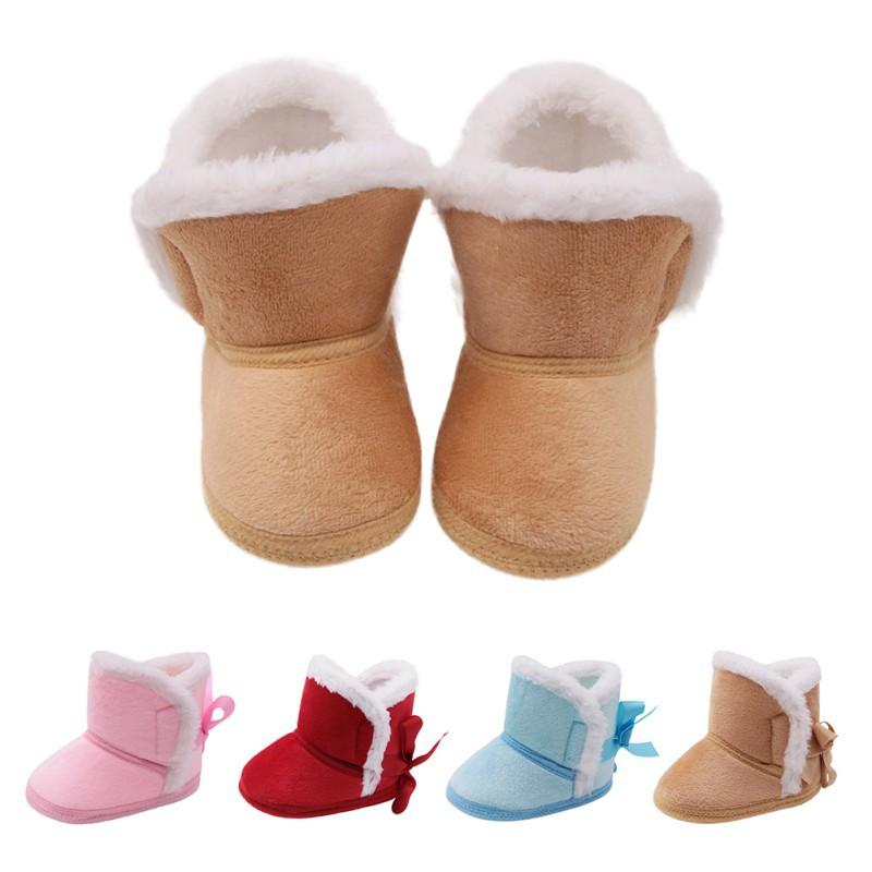 純色後系帶棉靴保暖防滑寶寶冬鞋嬰兒學步鞋【IU貝嬰屋】
