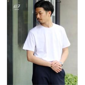 417 EDIFICE 【汗染み防止加工】 シルケットスムース クルーネック ショートスリーブ ホワイト XL