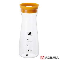 【ADERIA】日本進口貓咪耐熱玻璃冷水瓶900ml(黃)