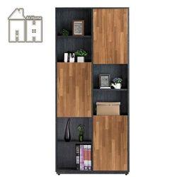 【AT HOME】布拉格2.7尺柚木三門書櫃-右