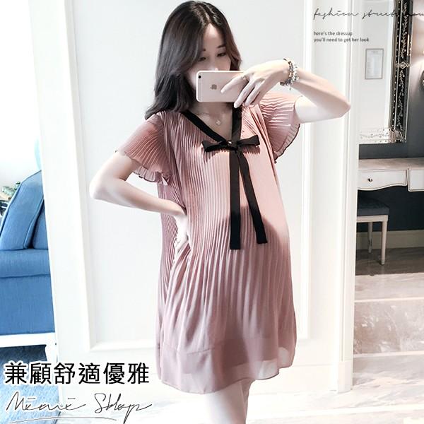 MIMI別走孕婦裝 孕婦洋裝 百褶雪紡洋裝 兼顧優雅與舒適的穿搭 【P52546】