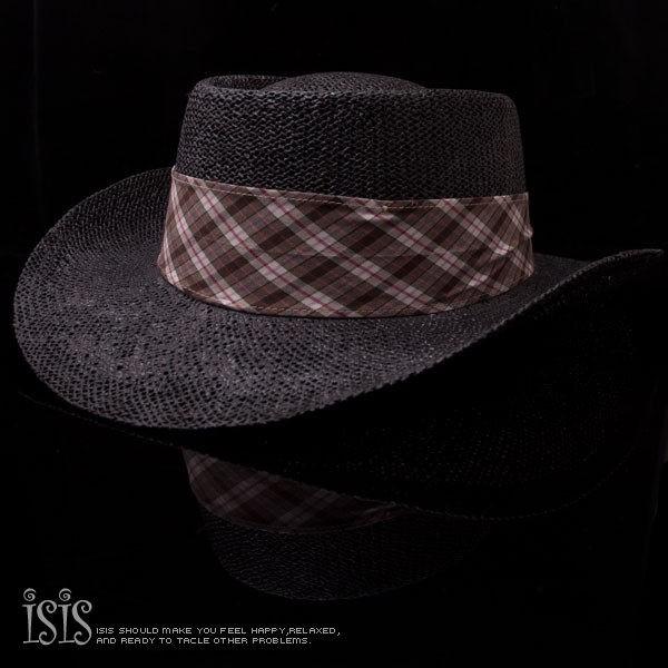 KURO-SHOP休閒時尚風格 黑色草編大鵬帽