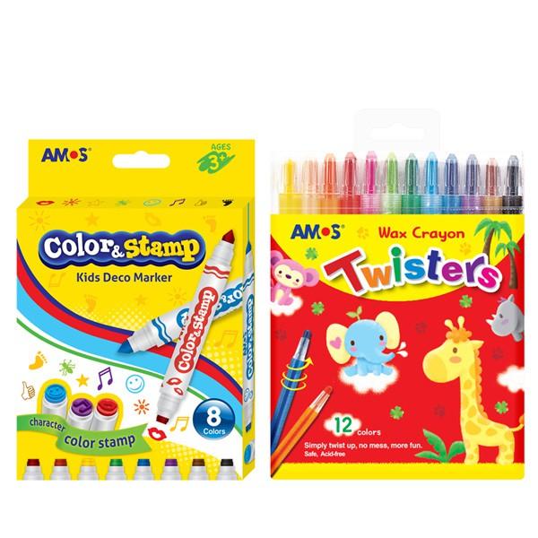 AMOS 8色印章彩色筆 / 12色鉛筆型旋轉蠟筆