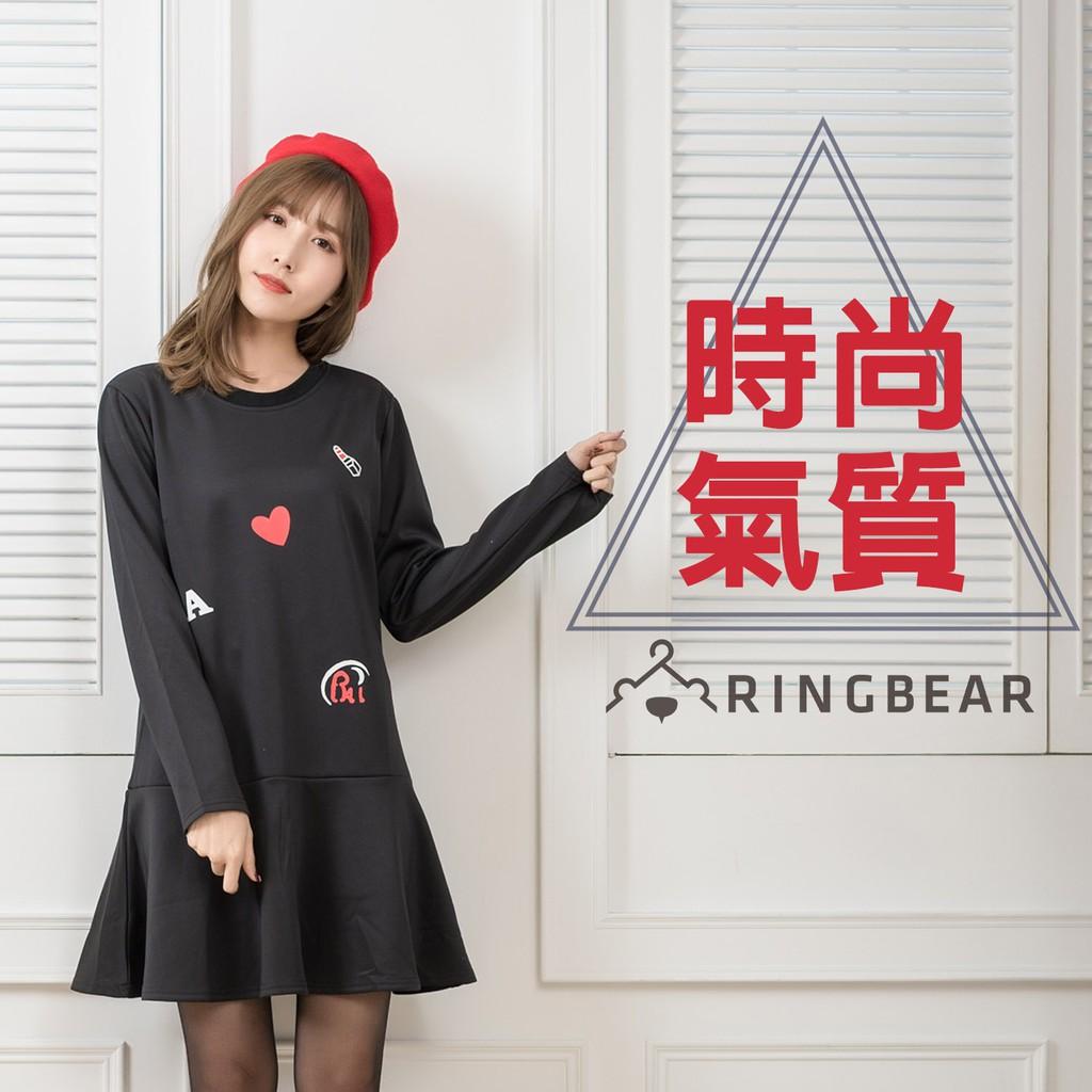 眼圈熊 中大尺碼 時尚氣質塗鴉線條印圖圓領剪接荷葉下襬長袖洋裝(黑L-3L)-A304
