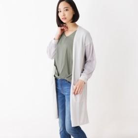 [マルイ]【セール】袖ストライプチュール カーディガン/ピンクアドベ(pink adobe)