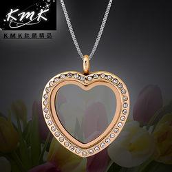 KMK鈦鍺精品【珍藏(玫瑰金)-心形】透明夾層相框-項鍊