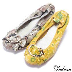 Deluxe-全真皮可彎曲娃娃鞋專櫃設計可愛飾扣-灰-黃-20010-9
