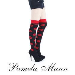 【摩達客】英國進口義大利製【Pamela Mann】浪漫紅唇過膝高統襪