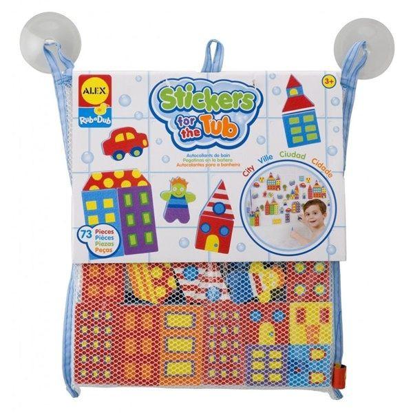 【附玩具收納袋】ALEX 洗澡玩具大都會汽車71片組 美國代購 正品 綠寶貝