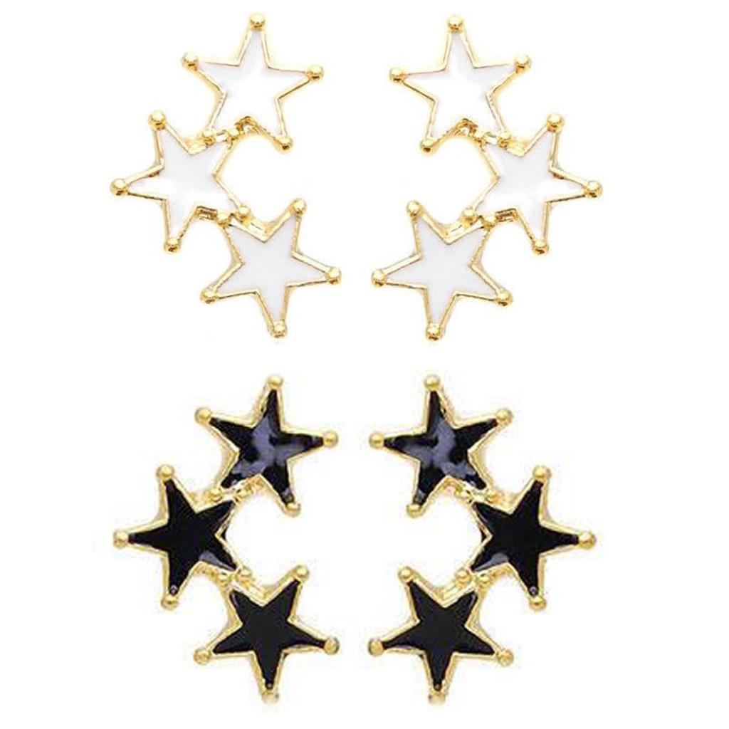 三環星 釉彩五角星星耳環 艾豆『B1292』