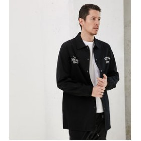 【AZUL by moussy:アウター】【MEN'S】ストレッチツイルロングコーチJKT