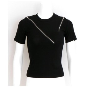 (ANAP/アナップ)デザインファスナーTシャツ/レディース ブラック