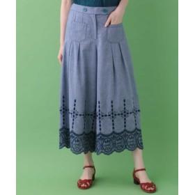 (Jocomomola/ホコモモラ)フラメンコさかな刺繍ワイドパンツ/レディース ライトブルー 送料無料